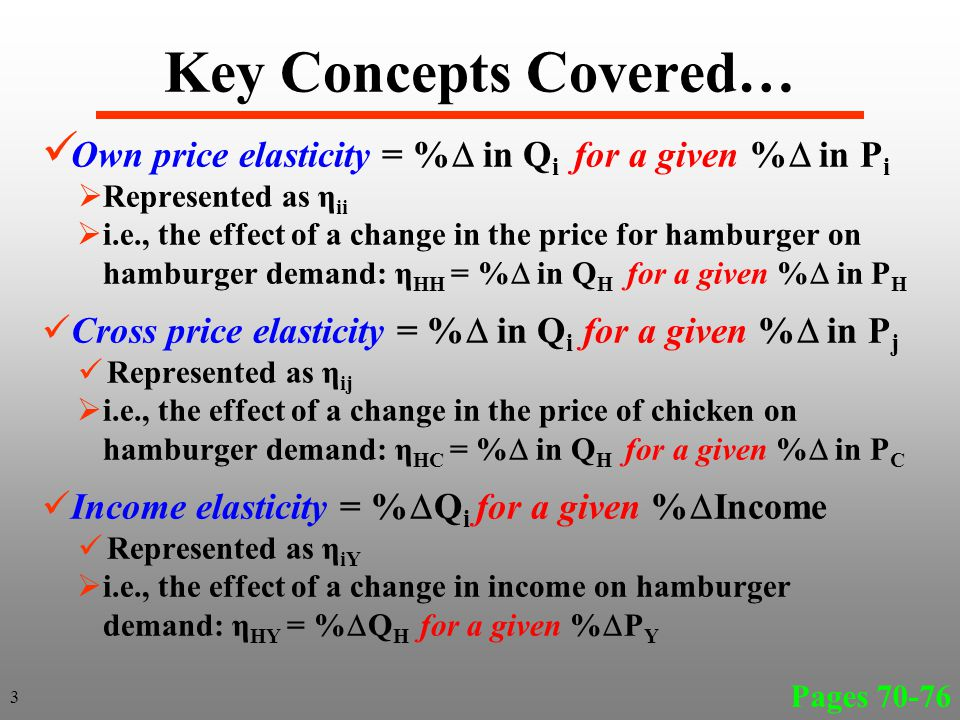 Key Concepts Covered… Arc elasticity = elasticity estimated over a range of prices and quantities along a demand curve Point elasticity = elasticity estimated at a point on the demand curve Price flexibility = reciprocal (the inverse) of the own price elasticity % in P i for a given % in Q i Pages 70-76 4