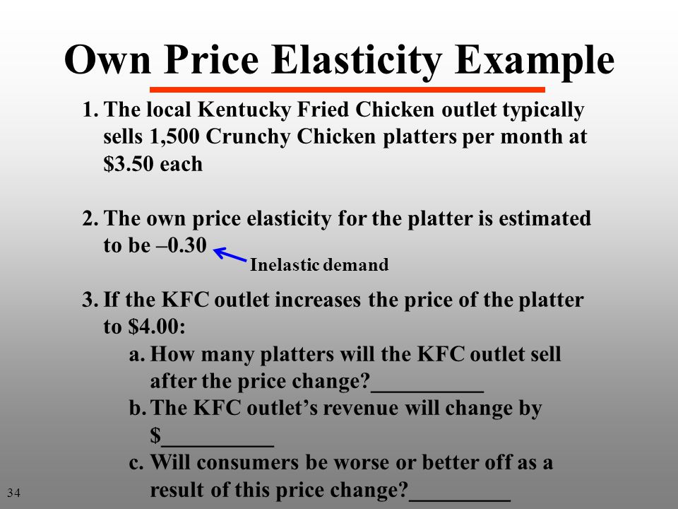 Own Price Elasticity Example 1.The local Kentucky Fried Chicken outlet typically sells 1,500 Crunchy Chicken platters per month at $3.50 each 2.The ow