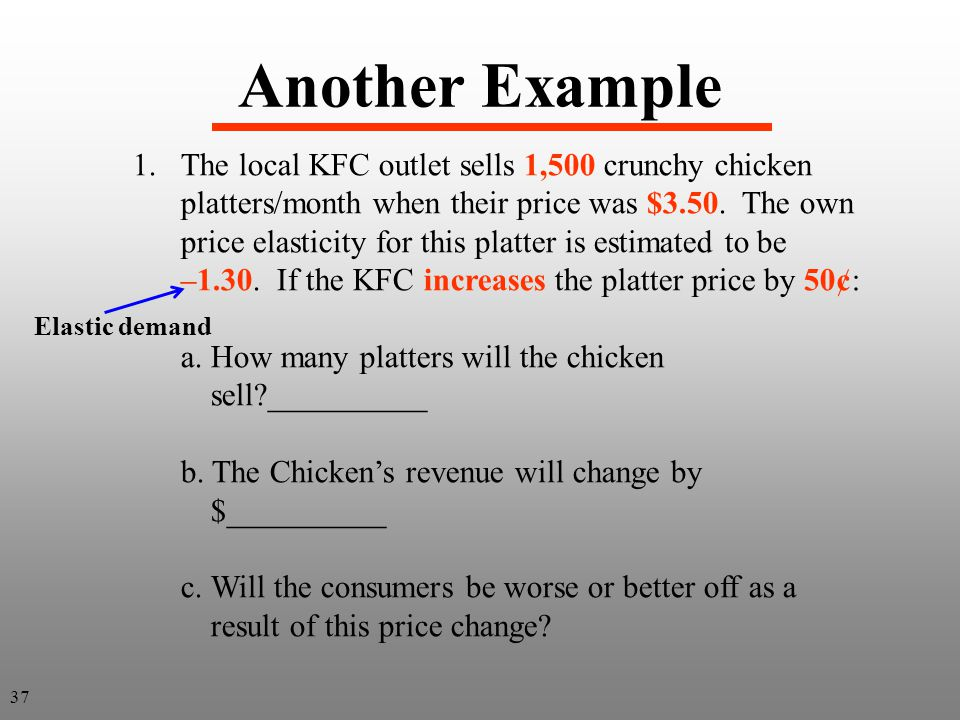 Another Example 1.The local KFC outlet sells 1,500 crunchy chicken platters/month when their price was $3.50. The own price elasticity for this platte