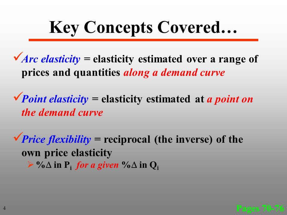 Key Concepts Covered… Arc elasticity = elasticity estimated over a range of prices and quantities along a demand curve Point elasticity = elasticity e