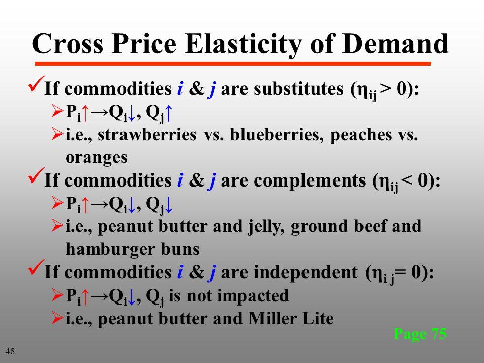 Cross Price Elasticity of Demand Page 75 If commodities i & j are substitutes (η ij > 0): P iQ i, Q j i.e., strawberries vs. blueberries, peaches vs.