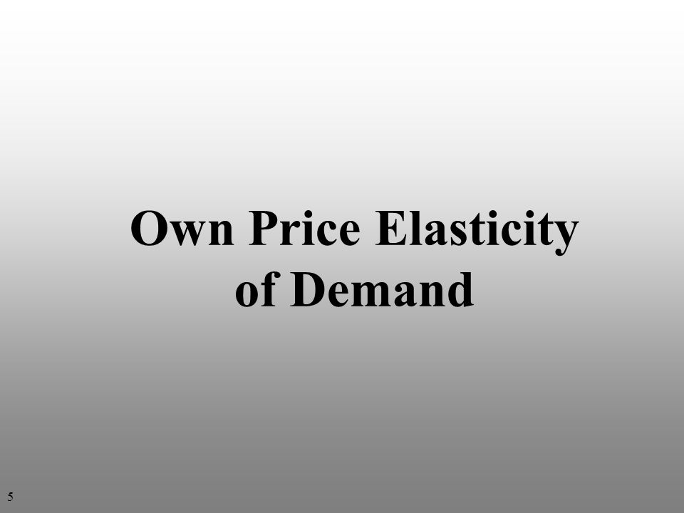Point Elasticity Approach: Own price elasticity of demand Q = (Q a – Q b ) P = (P a – P b ) Pages 70-72 PaPa QaQa The subscript a stands for after price change b stands for before price change The subscript a stands for after price change b stands for before price change $ Q PbPb QbQb Own price elasticity of demand Percentage change in quantity demanded (Q) Percentage change in its own price (P) η ii = 6 Single point on curve Single point on curve % Δ in Q % Δ in P