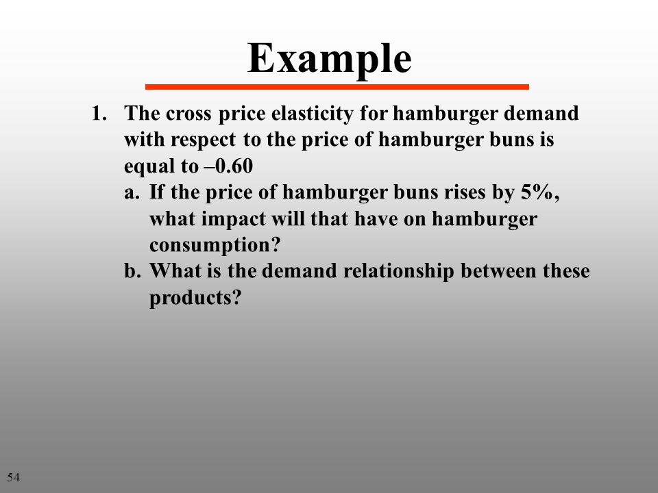 Example 1.The cross price elasticity for hamburger demand with respect to the price of hamburger buns is equal to –0.60 a.If the price of hamburger bu