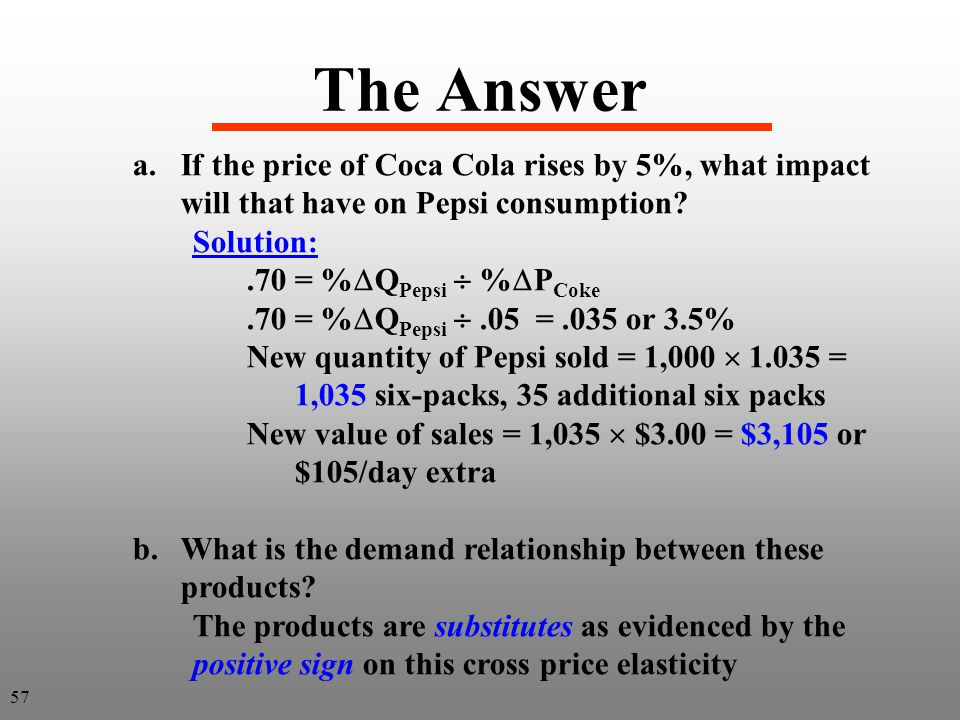 The Answer a.If the price of Coca Cola rises by 5%, what impact will that have on Pepsi consumption? Solution:.70 = % Q Pepsi % P Coke.70 = % Q Pepsi.