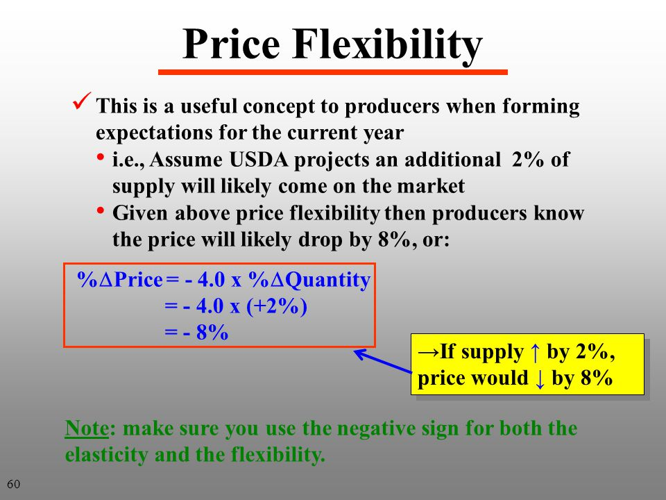 Price Flexibility This is a useful concept to producers when forming expectations for the current year i.e., Assume USDA projects an additional 2% of