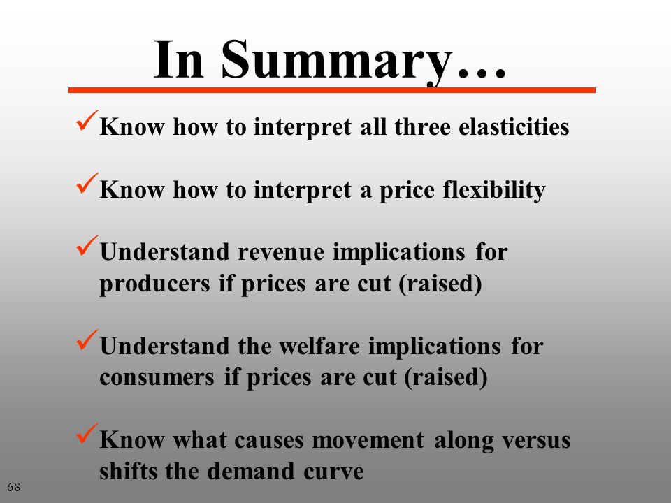 In Summary… Know how to interpret all three elasticities Know how to interpret a price flexibility Understand revenue implications for producers if pr