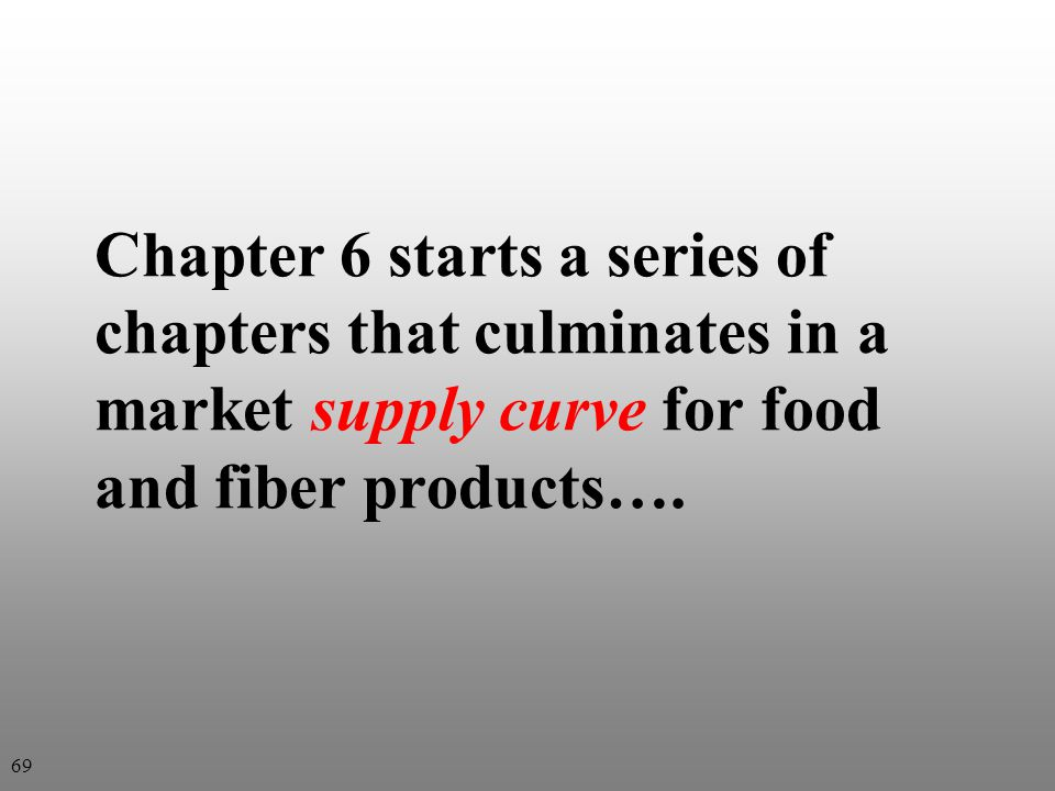 Chapter 6 starts a series of chapters that culminates in a market supply curve for food and fiber products…. 69
