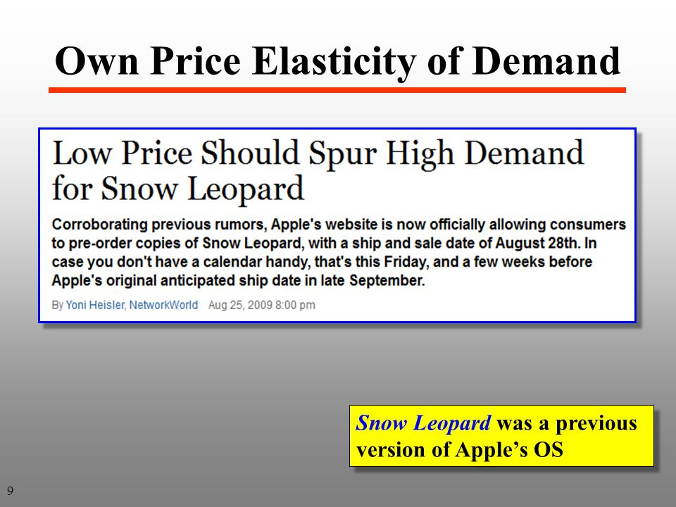 Price Flexibility This is a useful concept to producers when forming expectations for the current year i.e., Assume USDA projects an additional 2% of supply will likely come on the market Given above price flexibility then producers know the price will likely drop by 8%, or: % Price = - 4.0 x % Quantity = - 4.0 x (+2%) = - 8% If supply by 2%, price would by 8% Note: make sure you use the negative sign for both the elasticity and the flexibility.