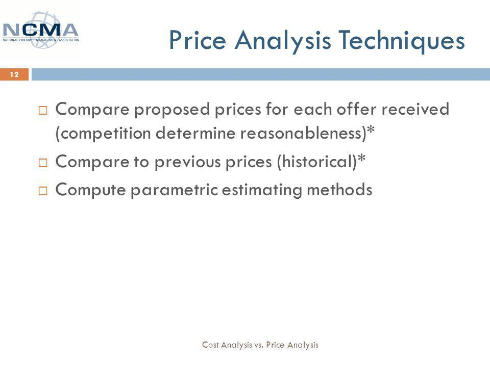 Price Analysis Techniques Cost Analysis vs.