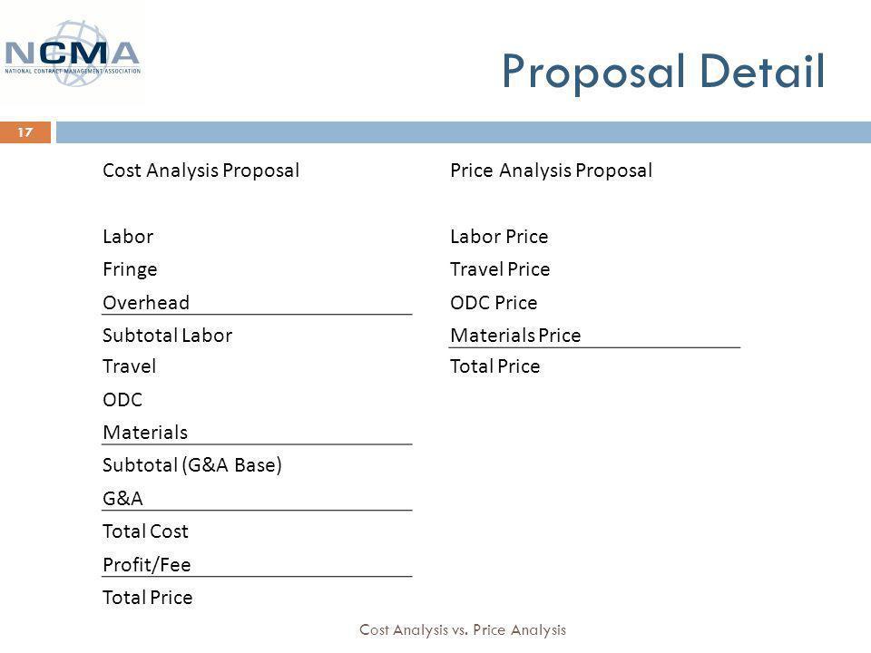 Cost Analysis vs.