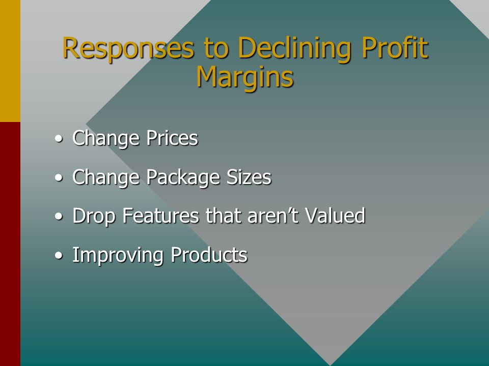 Responses to Declining Profit Margins Change PricesChange Prices Change Package SizesChange Package Sizes Drop Features that arent ValuedDrop Features