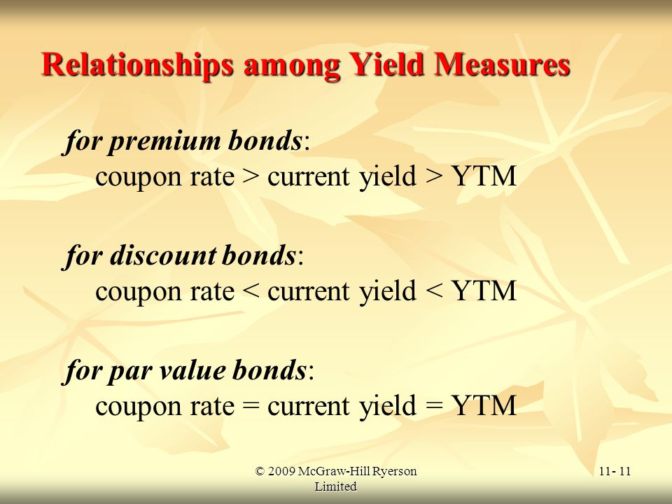 © 2009 McGraw-Hill Ryerson Limited 11- 11 Relationships among Yield Measures for premium bonds: coupon rate > current yield > YTM for discount bonds: