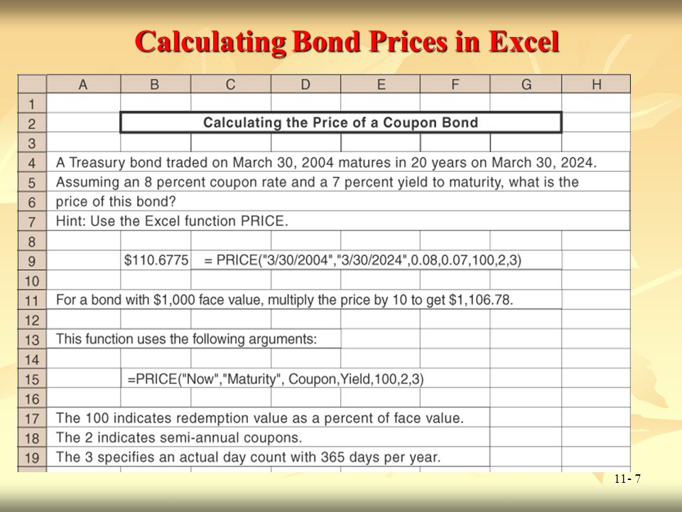 11- 8 Calculating the Price of this Straight Bond Excel has a function that allows you to price straight bonds, and it is called PRICE.