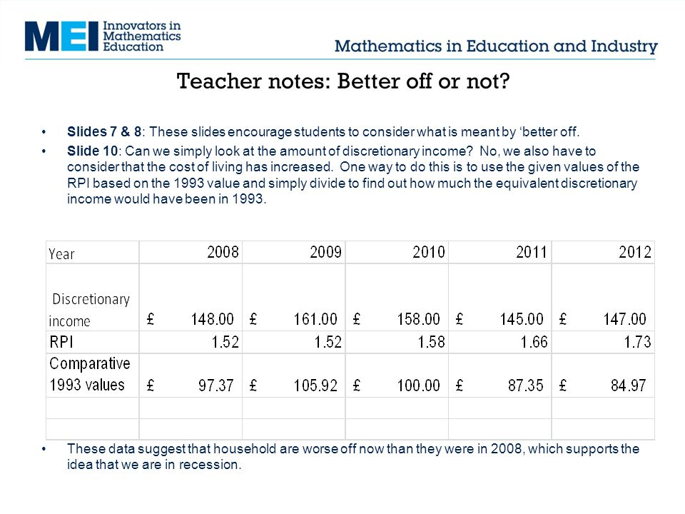 Teacher notes: Better off or not? Slides 7 & 8: These slides encourage students to consider what is meant by better off. Slide 10: Can we simply look