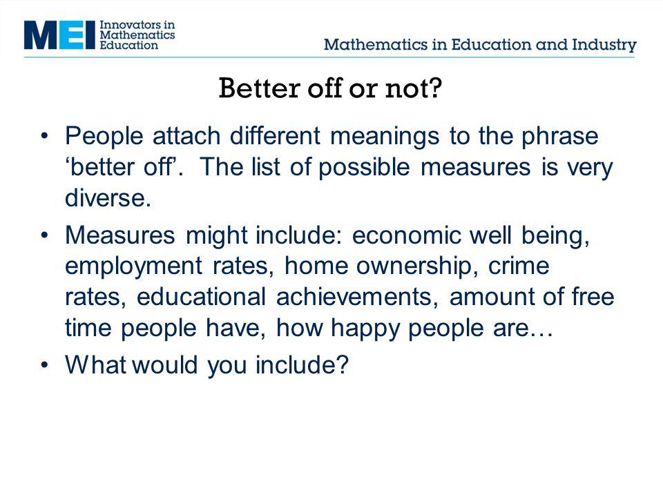 Teacher notes: Better off or not.