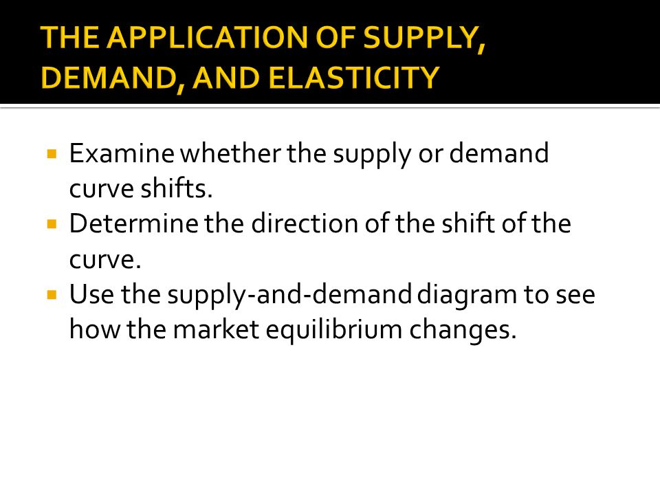 Examine whether the supply or demand curve shifts. Determine the direction of the shift of the curve. Use the supply-and-demand diagram to see how the