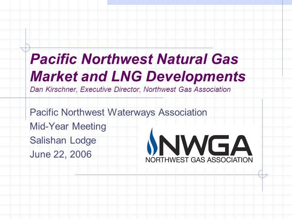 Pacific Northwest Natural Gas Market and LNG Developments Dan Kirschner, Executive Director, Northwest Gas Association Pacific Northwest Waterways Association Mid-Year Meeting Salishan Lodge June 22, 2006