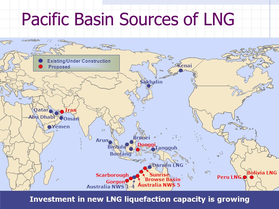 25 Pacific Basin Sources of LNG Peru LNG Bolivia LNG Sunrise Browse Basin Scarborough Australia NWS 5 Kenai Sakhalin Gorgon Darwin LNG Australia NWS 1-4 Iran Bintulu Arun Brunei Tangguh Oman Abu Dhabi Qatar Donggi Bontang Investment in new LNG liquefaction capacity is growing Existing/Under Construction Proposed Yemen