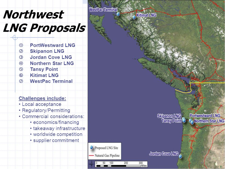 "27 PortWestward LNG Skipanon LNG Jordan Cove LNG ""Northern Star LNG Tansy Point †Kitimat LNG ‡WestPac Terminal Challenges include: Local acceptance Regulatory/Permitting Commercial considerations: economics/financing takeaway infrastructure worldwide competition supplier commitment Northwest LNG Proposals"