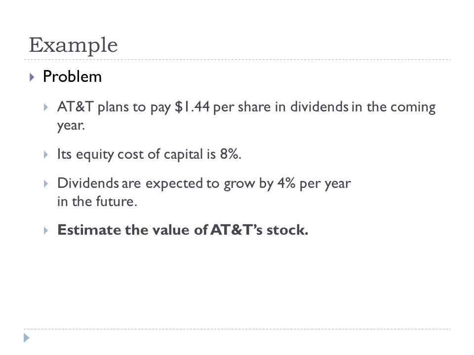 Problem AT&T plans to pay $1.44 per share in dividends in the coming year. Its equity cost of capital is 8%. Dividends are expected to grow by 4% per