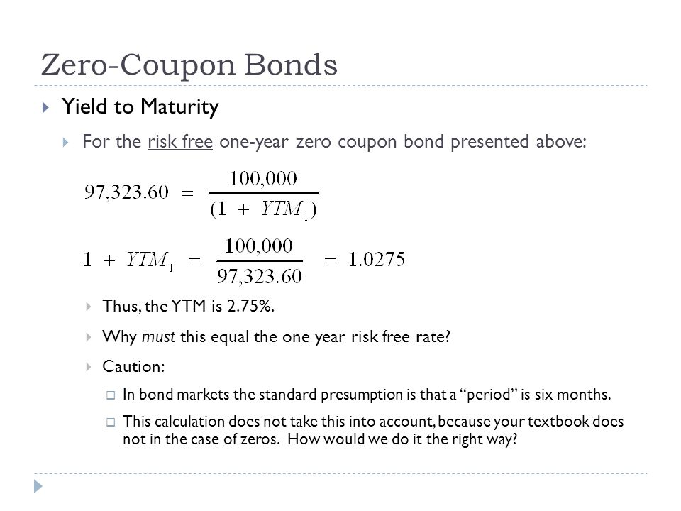 Zero-Coupon Bonds Yield to Maturity For the risk free one-year zero coupon bond presented above: Thus, the YTM is 2.75%. Why must this equal the one y