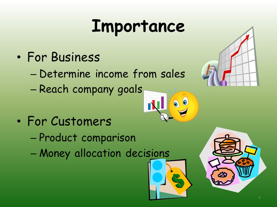 Importance For Business – Determine income from sales – Reach company goals For Customers – Product comparison – Money allocation decisions 4