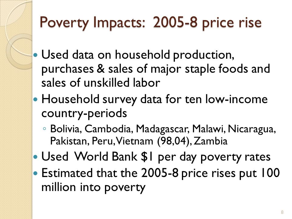 9 2010-11 price surge Primarily June to December 2011 Wheat, maize, many other commodities But fortunately not rice Much less likely that wages have responded Used detailed data on the extent of pass- through into domestic prices Data on 28 countries & 38 commodities Estimate that 44 million have been pushed below the $1.25/day poverty line 68 million entering poverty; 24m escaping