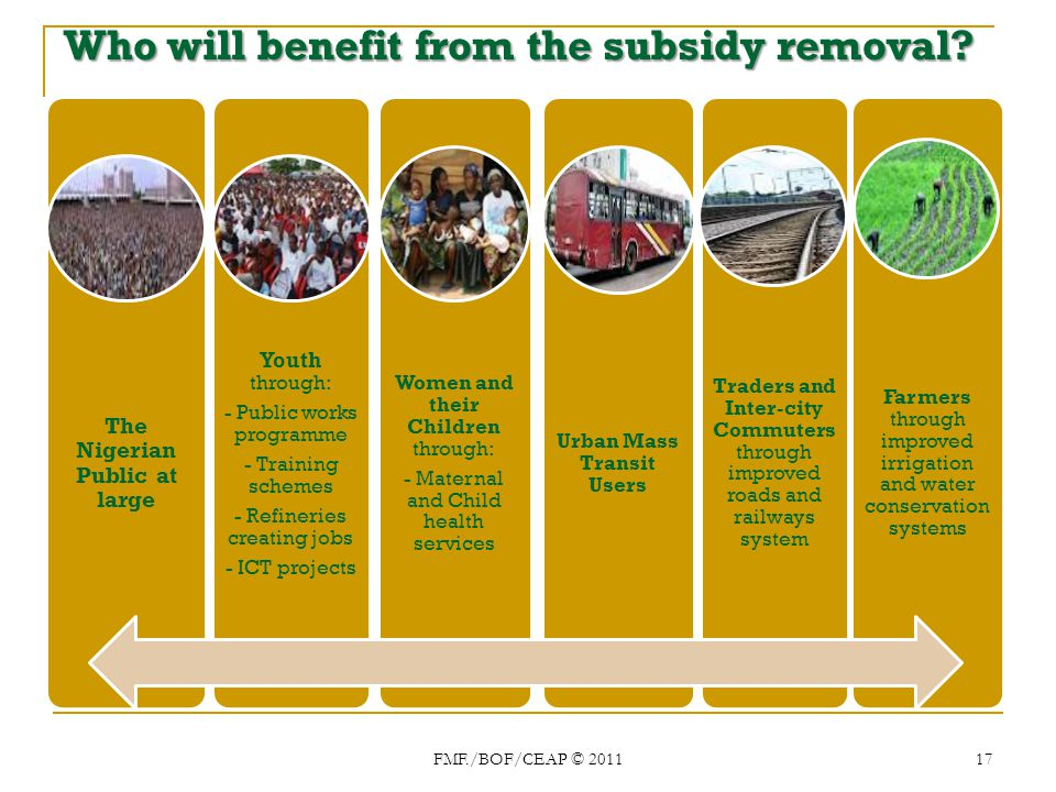 Whowill benefit from the subsidy removal. Who will benefit from the subsidy removal.