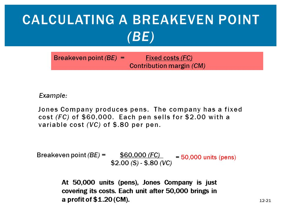 CALCULATING A BREAKEVEN POINT (BE) Jones Company produces pens.