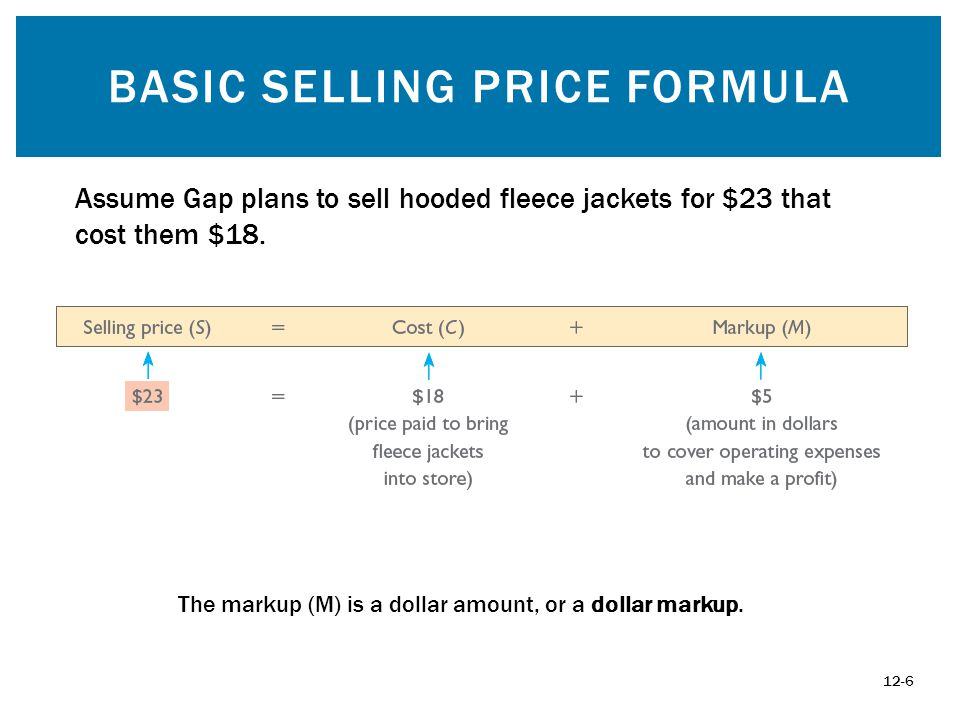 CONVERSION 12-17 Formula for Converting Percent Markup on Cost to Percent Markup on Selling Price: Percent markup on cost 1 + Percent markup on cost.2778 = 21.74% 1 +.2778 Formula for Converting Percent Markup on Selling Price to Percent Markup on Cost: Percent markup on selling price 1 -- Percent markup on selling price.2174 = 27.78% 1 --.2174