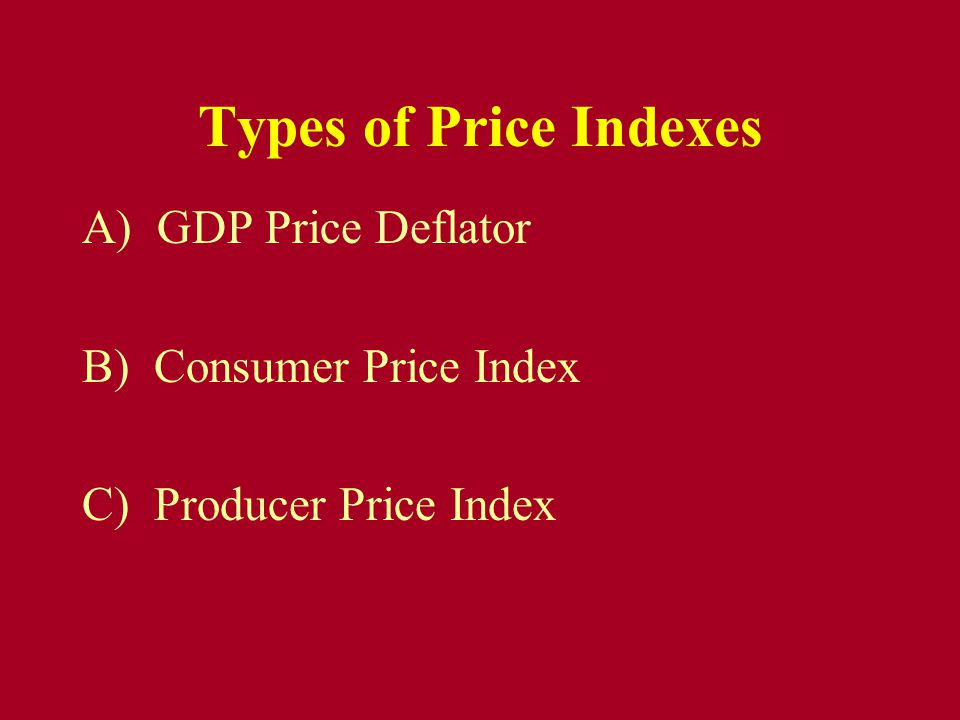 Types of Price Indexes A) GDP Price Deflator B) Consumer Price Index C) Producer Price Index