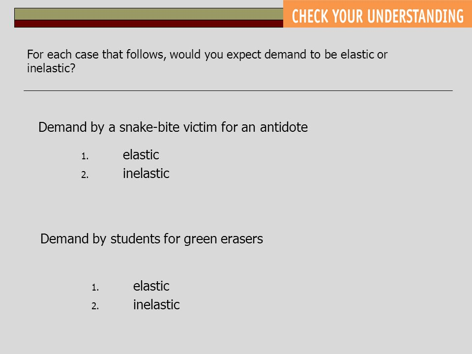 For each case that follows, would you expect demand to be elastic or inelastic? Demand by a snake-bite victim for an antidote Demand by students for g