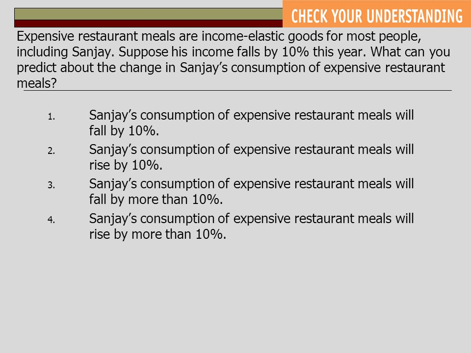 Expensive restaurant meals are income-elastic goods for most people, including Sanjay. Suppose his income falls by 10% this year. What can you predict