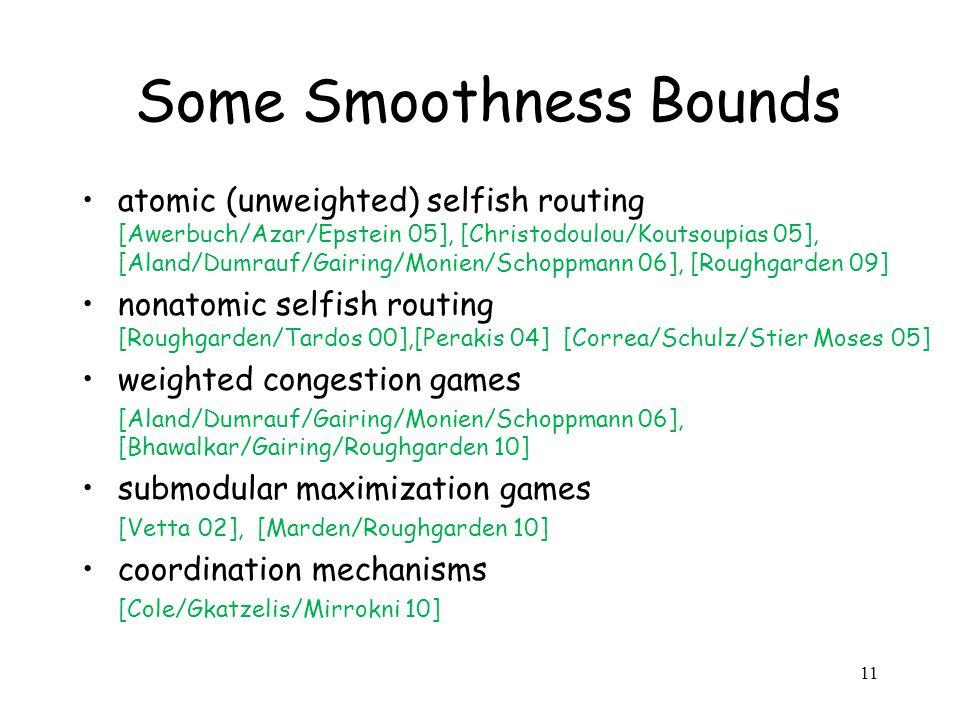 11 Some Smoothness Bounds atomic (unweighted) selfish routing [Awerbuch/Azar/Epstein 05], [Christodoulou/Koutsoupias 05], [Aland/Dumrauf/Gairing/Monien/Schoppmann 06], [Roughgarden 09] nonatomic selfish routing [Roughgarden/Tardos 00],[Perakis 04] [Correa/Schulz/Stier Moses 05] weighted congestion games [Aland/Dumrauf/Gairing/Monien/Schoppmann 06], [Bhawalkar/Gairing/Roughgarden 10] submodular maximization games [Vetta 02], [Marden/Roughgarden 10] coordination mechanisms [Cole/Gkatzelis/Mirrokni 10]