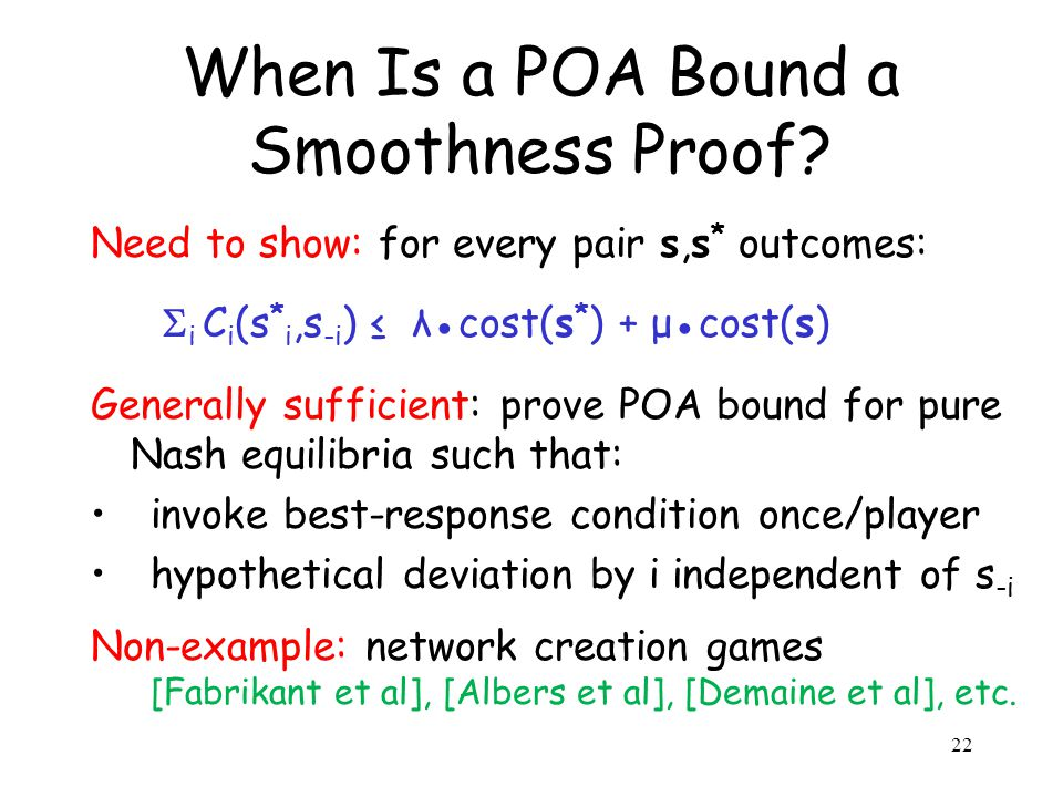 When Is a POA Bound a Smoothness Proof.