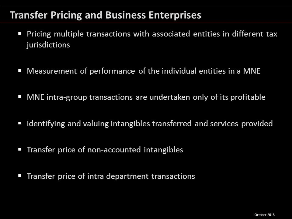Pricing multiple transactions with associated entities in different tax jurisdictions Measurement of performance of the individual entities in a MNE M