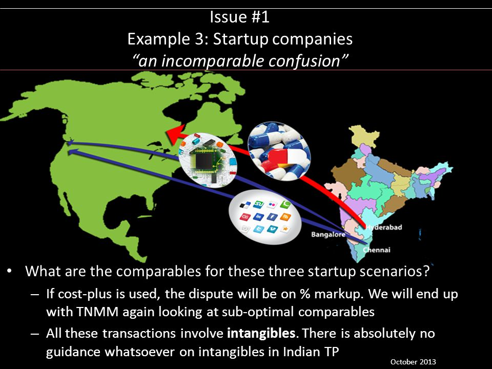Issue #1 Example 3: Startup companies an incomparable confusion What are the comparables for these three startup scenarios? – If cost-plus is used, th