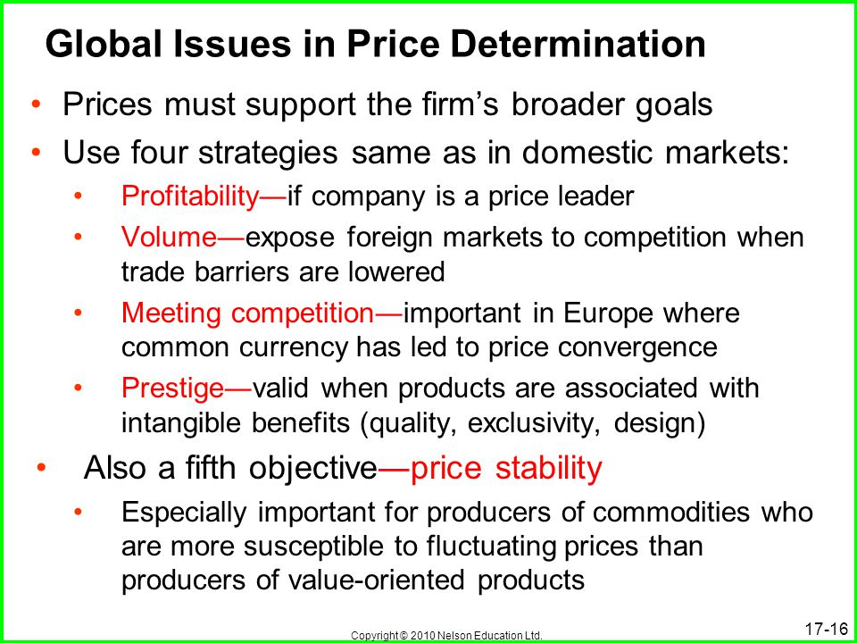 Copyright © 2010 Nelson Education Ltd. 17-16 Global Issues in Price Determination Prices must support the firms broader goals Use four strategies same