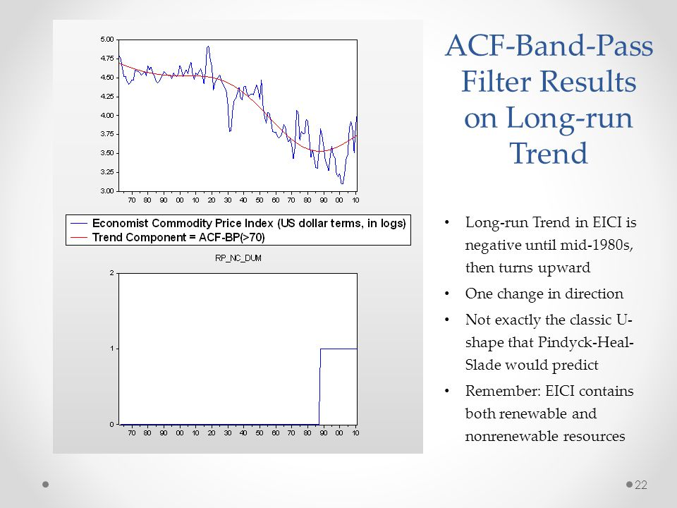 ACF-Band-Pass Filter Results on Long-run Trend Long-run Trend in EICI is negative until mid-1980s, then turns upward One change in direction Not exactly the classic U- shape that Pindyck-Heal- Slade would predict Remember: EICI contains both renewable and nonrenewable resources 22