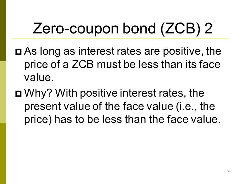 20 Zero-coupon bond (ZCB) 2 As long as interest rates are positive, the price of a ZCB must be less than its face value. Why? With positive interest r