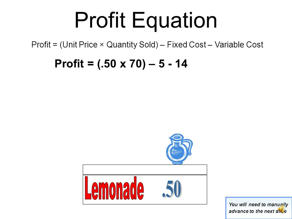 Profit Equation Profit = (Unit Price × Quantity Sold) – Fixed Cost – Variable Cost.50 x 70 glasses = $35 Total Revenue Fixed cost = $5Variable cost = $14 You will need to manually advance to the next slide