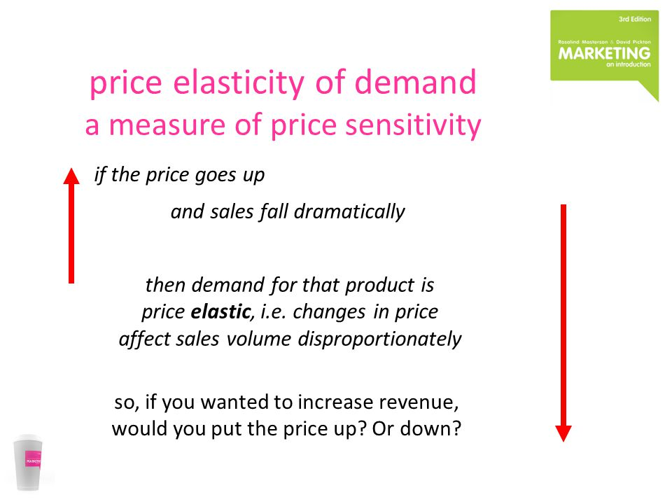 price elasticity of demand a measure of price sensitivity if the price goes up and sales fall dramatically then demand for that product is price elastic, i.e.
