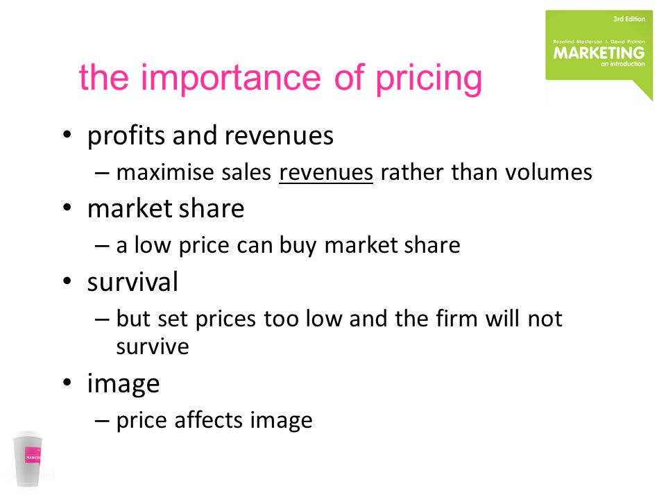the importance of pricing profits and revenues – maximise sales revenues rather than volumes market share – a low price can buy market share survival – but set prices too low and the firm will not survive image – price affects image