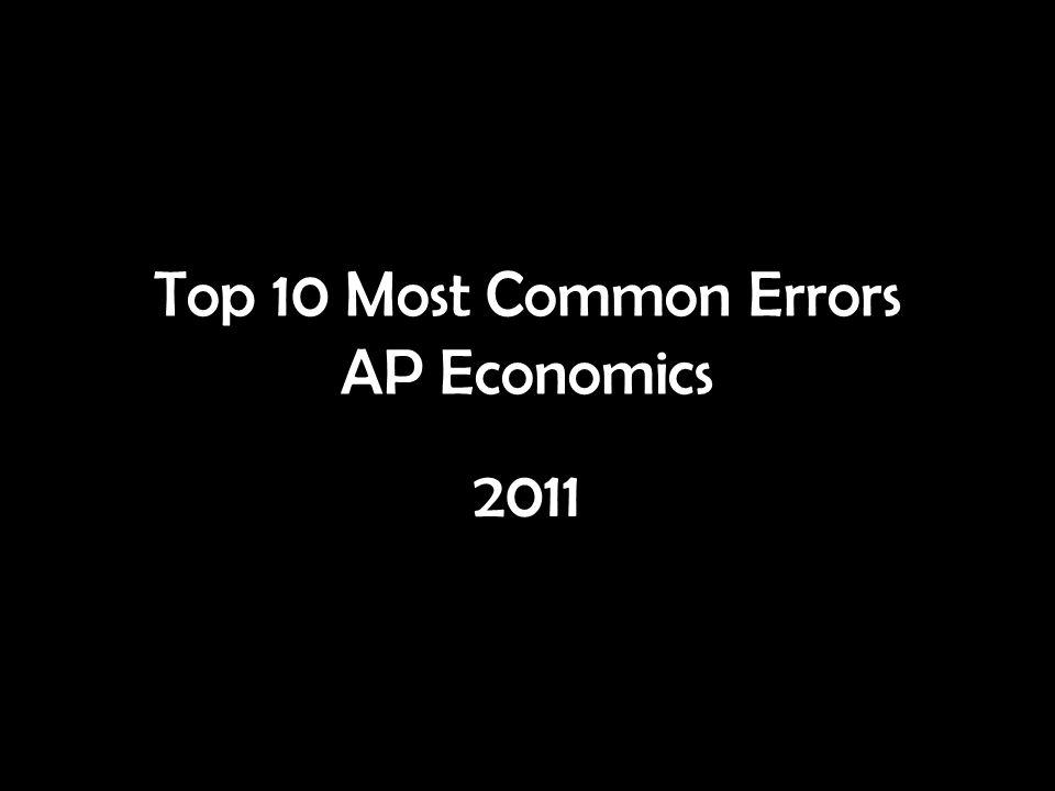 Top 10 Most Common Errors AP Economics 2011