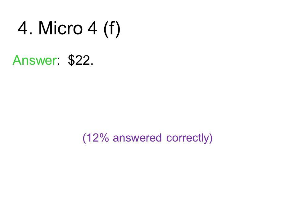 4. Micro 4 (f) Answer: $22. (12% answered correctly)