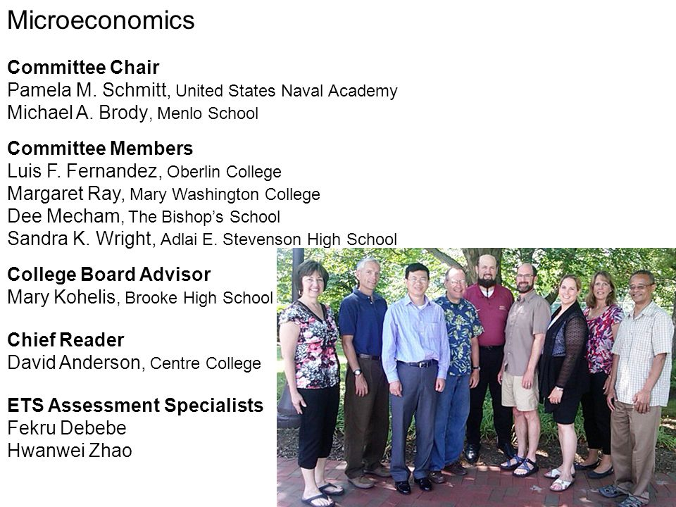 Microeconomics Committee Chair Pamela M. Schmitt, United States Naval Academy Michael A. Brody, Menlo School Committee Members Luis F. Fernandez, Ober