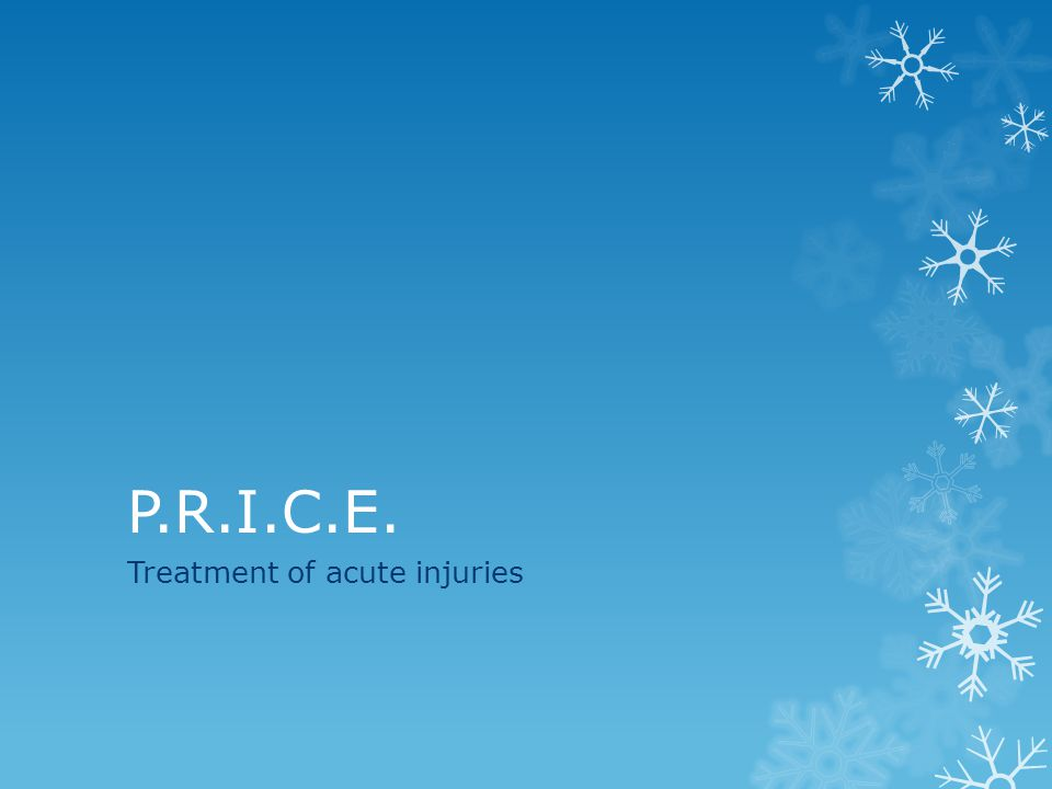 P.R.I.C.E. Treatment of acute injuries
