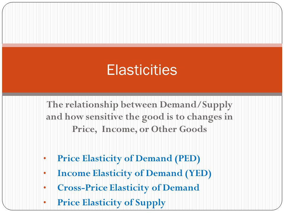 Cross-Price Elasticity of Demand (CPed) Measures the extent to which demand for one product changes in response to a change in the price of another product % in Quantity Demanded of the product A % in price of the product B Note: Positive/Negative sign does matter