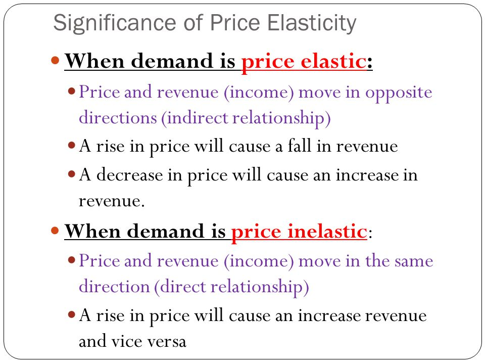 Warning:Elasticity and Slope of line A straight line will have a slope that is constant, the value of PED over the same line will vary. upper portions