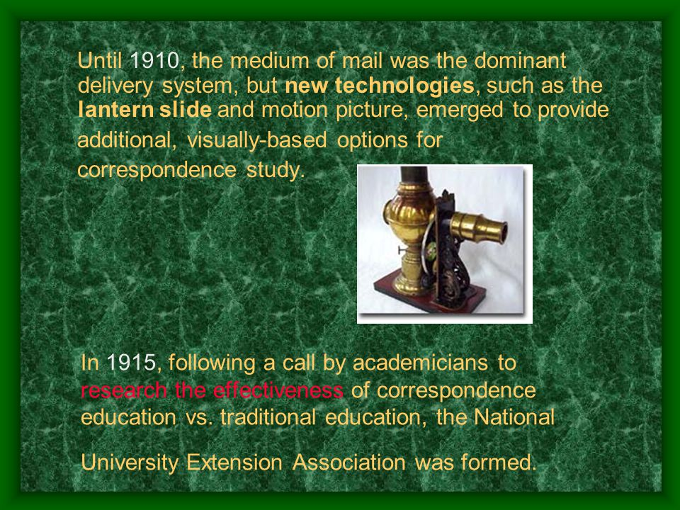 In 1915, following a call by academicians to research the effectiveness of correspondence education vs.